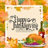 De kaart van de thanksgiving daykalligrafie De herfst de achtergrondlay-out verfraait bladeren het winkelen verkoop of promoaffic Stock Afbeelding