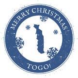 De kaart van Togo Uitstekende Vrolijke Kerstmis Togo Stamp Stock Illustratie