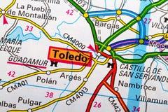 De kaart van Toledo Stock Afbeeldingen