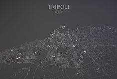 De kaart van Tripoli, Libië, satellietmening Stock Foto