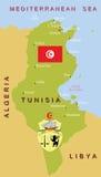 De kaart van Tunesië. Stock Fotografie