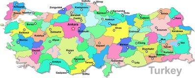 De kaart van Turkije Stock Afbeeldingen