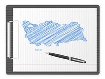 De kaart van Turkije van het klembord Stock Afbeeldingen