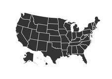 De kaart van de V.S. voor atlas vectordiepictogram op witte achtergrond wordt geïsoleerd stock illustratie