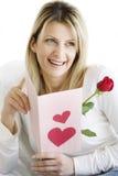 De kaart van valentijnskaarten Stock Foto's