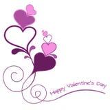 De kaart van valentijnskaarten met harten violete Stock Afbeelding
