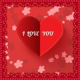 De kaart van de de Valentijnskaartendag van het Witboekhart met teken` I liefde Royalty-vrije Stock Fotografie