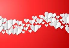 De kaart van de valentijnskaartendag met gesneden document harten stock illustratie