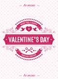 De kaart van de valentijnskaartendag met retro stijl van de etikettypografie op hartenachtergrond voor bannerverkoop Stock Afbeeldingen