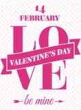 De kaart van de valentijnskaartendag met tekenliefde en is mijn op hartenachtergrond Stock Foto