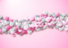 De kaart van de valentijnskaartendag met verspreide kleurrijke folieharten royalty-vrije illustratie