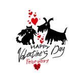 De kaart van Valentine ` s met paar van het houden van van poedels Stock Foto's