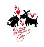 De kaart van Valentine ` s met paar van het houden van van poedels Royalty-vrije Stock Foto's
