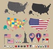De kaart van Verenigde Staten Stock Afbeelding