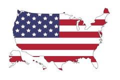 De kaart van de Verenigde Staten van Amerika met vlag Kaarten van de beeldspraak van NASA Illustratie op witte achtergrond royalty-vrije illustratie