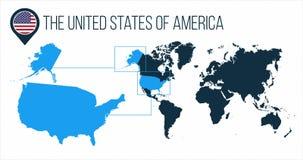 De kaart van de Verenigde Staten van Amerika de V.S. op een wereldkaart wordt gevestigd met vlag en kaartwijzer of speld die Info stock afbeeldingen