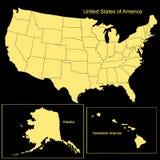 De Kaart van de Verenigde Staten van Amerika Vector illustratie Stock Afbeelding