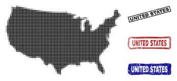 De Kaart van Verenigde Staten in Halftone Dot Style met Grunge-Titelzegels stock illustratie