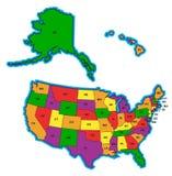 De Kaart van Verenigde Staten in Kleur royalty-vrije illustratie