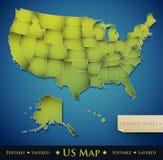 De kaart van Verenigde Staten met alle 50 gescheiden staten Stock Foto's