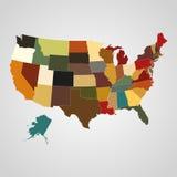 De kaart van Verenigde Staten met gescheiden staten Vector illustratie royalty-vrije illustratie