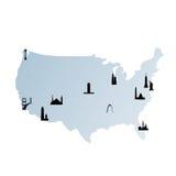 De kaart van Verenigde Staten met oriëntatiepunten Stock Afbeelding
