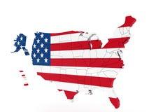 De Kaart van Verenigde Staten met Vlag Stock Fotografie