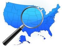 De Kaart van Verenigde Staten onder Vergrootglas Stock Foto's
