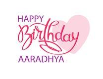 De kaart van de verjaardagsgroet met Indische naam Aaradhya Het elegante hand van letters voorzien en een groot roze hart Ge?sole stock illustratie