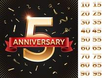 De kaart van de verjaardagsuitnodiging Vieringskaarten met gouden confettien en gouden aantallen Jubileum die vectorontwerp begro vector illustratie