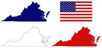 De kaart van Virginia met de vlaggenstaat van de V.S. in de Zuidoostelijke en medio-Atlantische gebieden van de Verenigde Staten stock illustratie