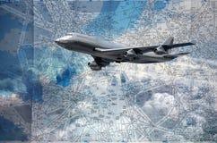 De kaart van vluchtroutes Stock Afbeelding