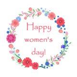 De kaart van de vrouwen` s dag met bloemen en bladeren stock illustratie