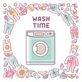 De kaart van de wastijd met wasmachine en kleren royalty-vrije illustratie