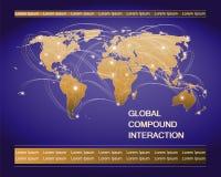 De kaart van de wereld Continenten met lichtgevende punten en banen Stock Afbeeldingen
