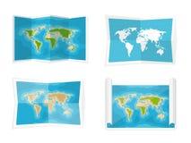 De kaart van de wereld Vector illustratie nearsighted Afrika Antarctica Australië Eurasia Noord-Amerika vector illustratie