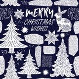 De Kaart van de de wintervakantie Het patroon van Kerstmis Royalty-vrije Stock Afbeeldingen
