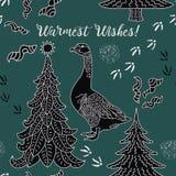 De Kaart van de de wintervakantie Het patroon van Kerstmis Stock Foto's