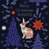 De Kaart van de de wintervakantie Het patroon van Kerstmis Royalty-vrije Stock Afbeelding