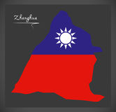 De kaart van Zhanghuataiwan met Taiwanese nationale vlagillustratie Stock Foto