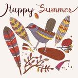 De kaart van de zomer Vector illustratie Stock Afbeelding