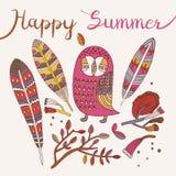 De kaart van de zomer Vector illustratie Stock Fotografie