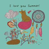 De kaart van de zomer Vector illustratie Stock Foto's