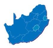 De kaart van Zuid-Afrika in 3D Stock Afbeelding
