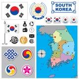 De kaart van Zuid-Korea Stock Afbeeldingen