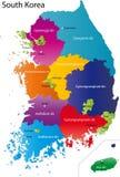 De kaart van Zuid-Korea stock illustratie