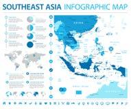 De Kaart van Zuidoost-Azië - Informatie Grafische Vectorillustratie royalty-vrije illustratie