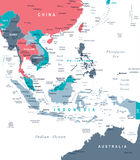 De Kaart van Zuidoost-Azië - Vectorillustratie vector illustratie