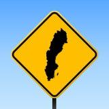 De kaart van Zweden op verkeersteken Royalty-vrije Stock Afbeelding