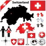 De kaart van Zwitserland Royalty-vrije Stock Foto's